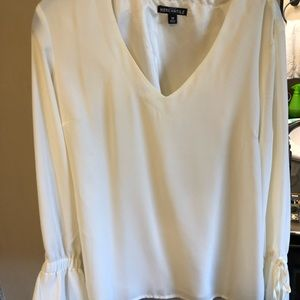 J.Crew ivory long sleeve blouse with bell sleeves.